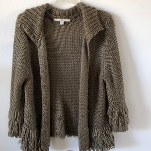 Super soft open cardigan with fringe